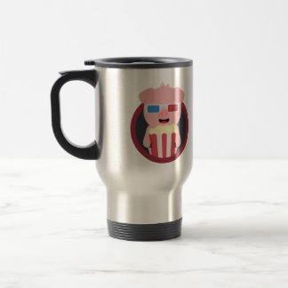 Cinema Pig with Popcorn Zpm09 Travel Mug