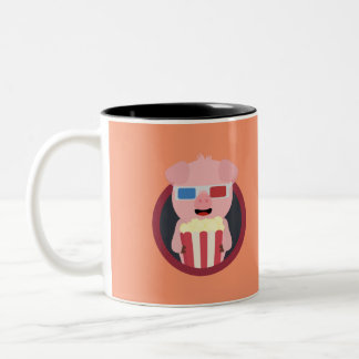 Cinema Pig with Popcorn Zpm09 Two-Tone Coffee Mug