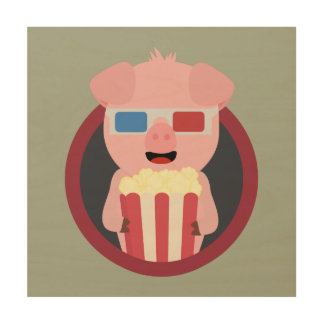 Cinema Pig with Popcorn Zpm09 Wood Canvas