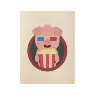 Cinema Pig with Popcorn Zpm09 Wood Poster