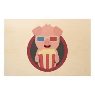 Cinema Pig with Popcorn Zpm09 Wood Print