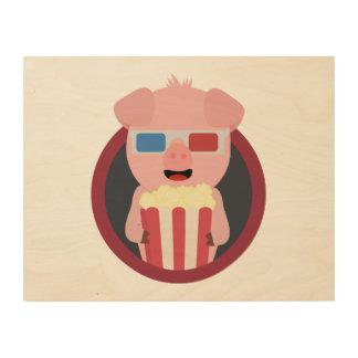 Cinema Pig with Popcorn Zpm09 Wood Prints