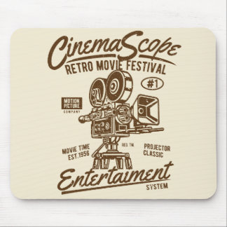 Cinema Scope Classic Retro Hollywood Camera Motion Mouse Pad