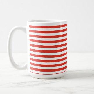 Cinnabar Color Horizontal Stripes; Striped Basic White Mug