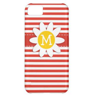 Cinnabar Color Horizontal Stripes; Striped; Daisy iPhone 5C Cover