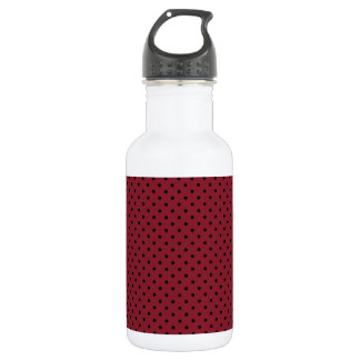 Cinnabar Red And Small Black Polka Dots Pattern 532 Ml Water Bottle