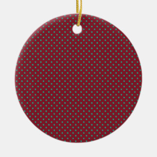Cinnabar Red Maroon And Small Emerald Polka Dots Round Ceramic Decoration
