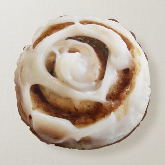 Cinnamon Bun with Icing Round Cushion