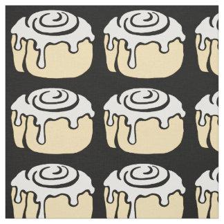 Cinnamon Roll Honey Bun Cute Cartoon Design Black Fabric