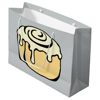 Cinnamon Roll Honey Bun Cute Cartoon Design Grey Large Gift Bag