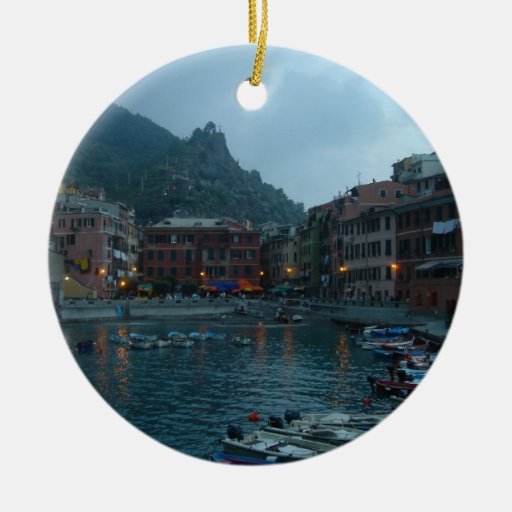 Cinque Terre at Dusk Christmas Tree Ornament