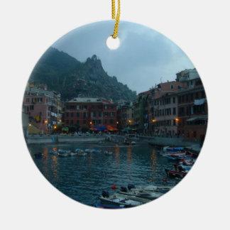 Cinque Terre at Dusk Round Ceramic Decoration