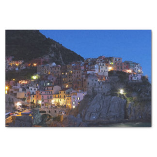 Cinque Terre Italy at night Tissue Paper