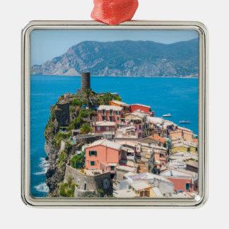 Cinque Terre Italy in the Italian Riviera Silver-Colored Square Decoration