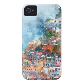Cinque Terre Italy Watercolor Case-Mate iPhone 4 Cases