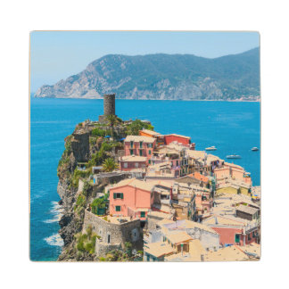Cinque Terre Italy Wood Coaster