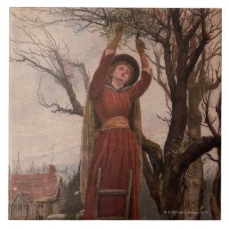 Circa 1820: A young woman cuts mistletoe Large Square Tile