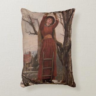 Circa 1820: A young woman cuts mistletoe Accent Pillow