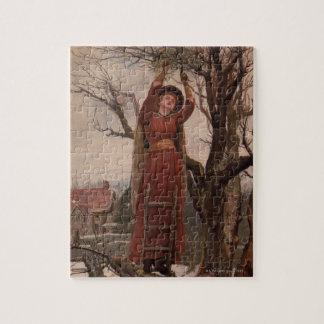 Circa 1820: A young woman cuts mistletoe Puzzle