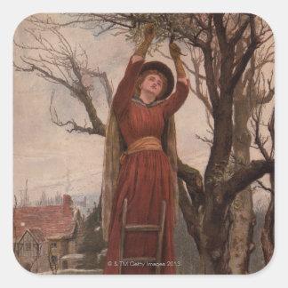 Circa 1820: A young woman cuts mistletoe Square Sticker