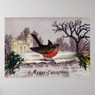 Circa 1865: A traditional Christmas robin Poster