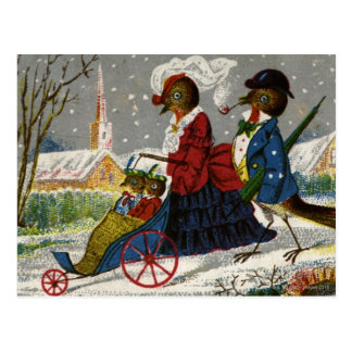 Circa 1870: The Robin family take a stroll Postcard