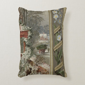 Circa 1871: A wintry Christmas scene Decorative Cushion