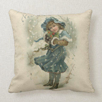 Circa 1871: A young girl in the snow Cushion