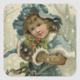 Circa 1871: A young girl in the snow Square Sticker