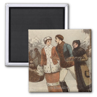 Circa 1899: Ice-skaters enjoying Christmas Square Magnet