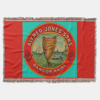 circa 1900 Alfred Jones Sons Finnan Haddie label Throw Blanket