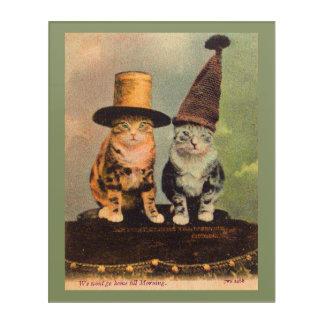 circa 1900 cats in hats RPPC Acrylic Wall Art