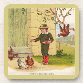 circa 1900 Feeding the Chickens Coaster