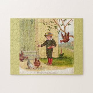 circa 1900 Feeding the Chickens Jigsaw Puzzle