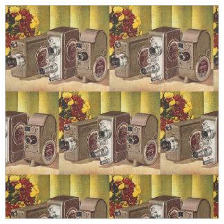 circa 1950 home movie cameras print fabric