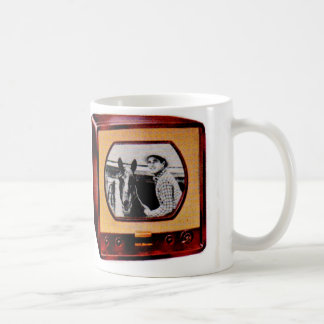 circa 1951 portable television set cowboy show coffee mug