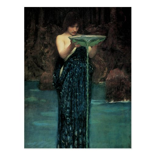 Circe Invidiosa by Waterhouse, Vintage Victorian Post Card