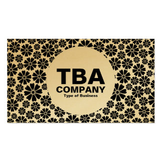 Circle - 8 Petals - Black on (Gold) Business Card
