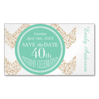 Circle and Chevron 40th Birthday Save the Date Magnetic Business Cards