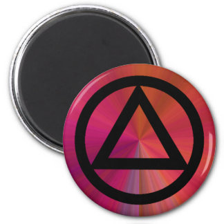 Circle and Triangle Recovery Sobriety Magnet 2 Inch Round Magnet