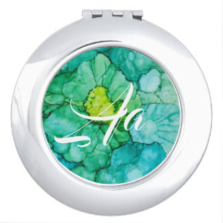 """Circle Compact Mirror """"Blue-Greens Flowers"""""""