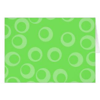 Circle design in green. Retro pattern. Custom Note Card