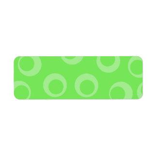 Circle design in green. Retro pattern. Return Address Label