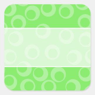 Circle design in green. Retro pattern. Square Sticker