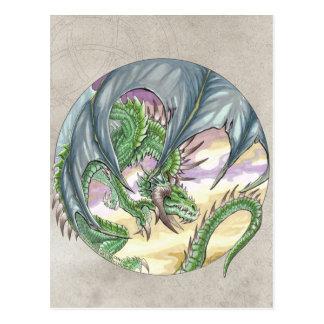 Circle Dragon - Green Postcard