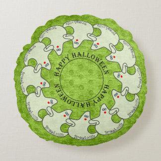 Circle Happy Halloween Ghost Spookzilla on Green Round Cushion