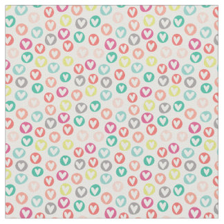 Circle Hearts Patterned Fabric