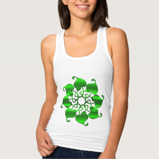 circle leaves green mandala singlet