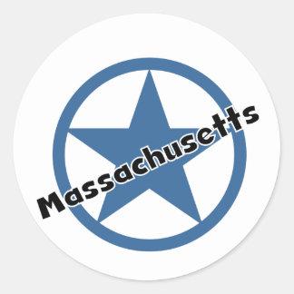 Circle Massachusetts Classic Round Sticker