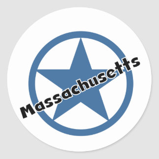 Circle Massachusetts Round Sticker